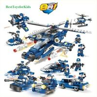 515pcs City Police 8in1 Swat Army Police CAR Helicopter Boat Building BlockS Toy