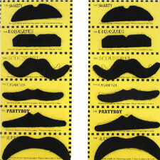 Set of 12 Self adhesive Assorted Fake Moustache Mustache Set Fancy Dress Party