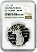 1996 S $1 National Community Service Commemorative Silver Dollar NGC PF70 UC