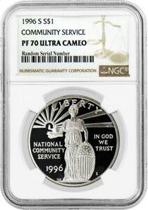 1996 S $1 National Community Service Commemorative Silver Dollar NGC PF70 UC