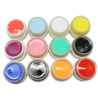 12X  Set mischten Farben Beauty Nail Art Tips UV Gel Powder 3D DIY NEU~