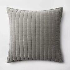 Threshold Gray Velvet Pick Stitch Pillow Sham Standard Size 100% Cotton