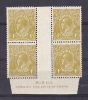 G80) Australia 1929 KGV 4d olive SM wmk,P13½ x 12½ Ash imprint block MUH