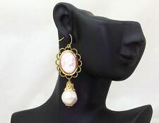 Orecchini Perle Camei Rosa con Dama x Foro