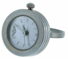 silver Dial Ring Watch with Silver Tone Case and adjustable band Round case