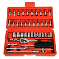 46pcs Ratchet Torque Wrench Kit Hand Tools For Car 1/4-Inch Socket Set Durable