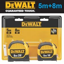 x2 DeWALT Professional Tape Measure 5M (16ft) & 8M (26ft) Twin Pack Pocket Combo
