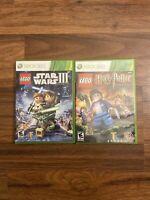 Microsoft Xbox 360 Games Lot Lego Star Wars 3 Clone Wars & Lego Harry Potter 5-7