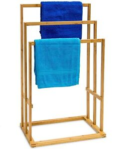 BAMBOO WOOD WOODEN TOWEL HOLDER RAIL STAND DRYING RACK FREE STANDING  3 TIER