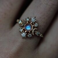 Natural Diamond Pave Moon Design Crescent Ring Moonstone 14k Yellow Gold US 4-8