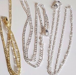 Gold Plated or Silver Plated Fine Figaro Necklace Chain 3 lengths Gift Wrapped