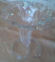 Beautiful Murano Art Glass Hand Blown Clear Glass Flower Bud Vase