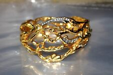 "Elizabeth Taylor for Avon ""Treasured Vine"" Cuff Bracelet 22Kt Goldplated Signed"