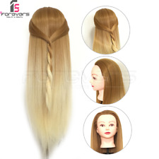 24'' Hairdressing Training Head With Real Hair Styling Mannequin Doll Brown Gold
