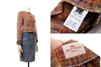 Women's ETRO Milano Jacket Wool Blend Multicolor Paisley Print Blazer Size 40
