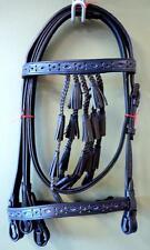 Fancy Bell Tassels Horse Spanish Vaqueros Bridle Headstall Black & BLUE cutouts