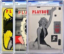 Matched Set | Playboy #1 PAGE 3, #2, & #3 | CGC 7.0 | #2 Signed by Hugh Hefner