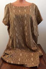 * Ralph Lauren Womens Plus Size 3X Tan Snake Print Short Sleeve Knee Lgth Dress