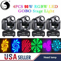 4Pcs RGBW Moving Head Stage Lighting 90W LED DJ DMX Beam Bar Disco Party Lights