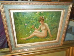 1901 oil by Sarkis Erganian, Turkish artist, subj. Nude