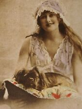 Antique photo Tucks postcard Lady Pekingese king charles spaniel dog on pillow!