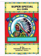 BROOM LABEL VINTAGE 1950S ORIGINAL NATIVE AMERICAN INDIAN CHIEF HAMBURG SPECIAL
