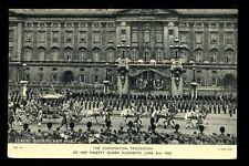 Royalty Coronation Procession Royal Carriage leaving Buckingham Palace 1953 PPC