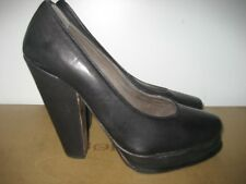 Joie 100% Leather Black High Heel Platform Pumps Italy Euro 39 US 8 NEW