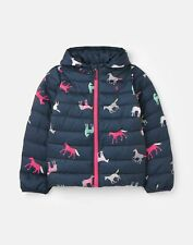 Joules Girls 211671 Padded Coat - Navy Horses