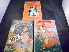 Lot of 3 Dell Comics Cinderella 101 Dalmatians Lady and The Tramp