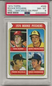 SET BREAK - 1974 TOPPS #599 ROOKIE PITCHERS, PSA 8 NM-MT, SD SMALL PRINT / RARE