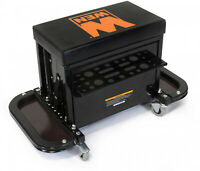 WEN Garage Glider Rolling Tool Chest Seat Steel Storage 2 Foldable Magnetic Tray