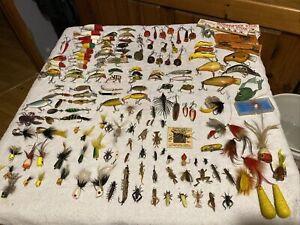 Huge lot Different Vintage Fishing Lures some Antique crank baits fly rod Heddon
