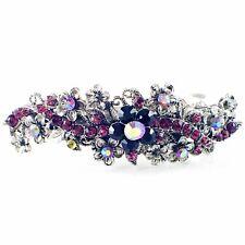 Vintage BARRETTE Rhinestone Crystal Hair Clip Hairpin Victorian Flower Purple 18