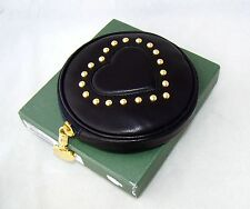 MOSCHINO vintage wallet hand bag purse small black pouch heart gold leather
