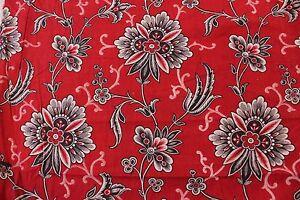 "Antique c1890 French Turkey Red Cotton Bandana Sample Fabric~L-10"" X W-12"""