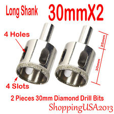 2X 30mm Diamond Drill Bis Set Hole Saw Cutter Tool Long Shank Glass Marble Tile@