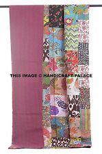 Floral Patchwork Kantha Quilt Handmade Indian Cotton Bedspread Bedding Throw