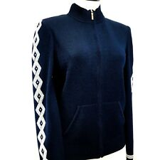 NEW St John Zippered Knit Sweater Navy White Embellished Sleeves Size 12 K60QQ52