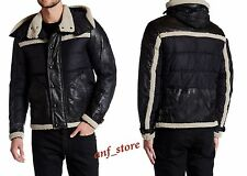 NWT Belstaff Padded Lamb Shearling Mens Black LEATHER Jacket 42/52 $1995 ITALY