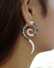 Tribal White Bone Fake Gauge Earrings