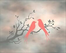 Coral Gray Home Decor Birds Tree Silhouette Art Photo Print Matted Picture
