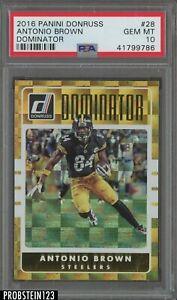 2016 Donruss Dominator Antonio Brown Pittsburgh Steelers 345/999 PSA 10
