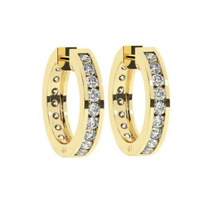 0.50CT Pave Set Round Brilliant Cut Diamonds Hoop Earrings in 9K Yellow Gold