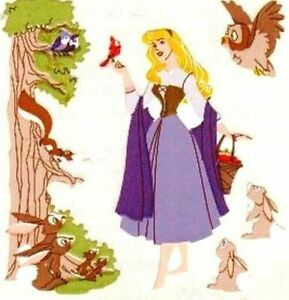 **RARE**  SLEEPING BEAUTY IN THE FOREST Sandylion Stickers- 3 squares PRINCESS