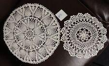 "Set of 2 Shimmering Off White Hand Crochet Crocheted Round Doilys 12"" & 16"""