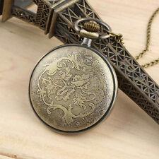 Antique Bronze Roman Numerals Chain Necklace Pendant Quartz Pocket Watch B4U
