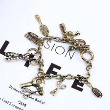 Scissors Comb hairdresser stylist Drier Rhinestone Charm Bracelet Retro SC2 ST