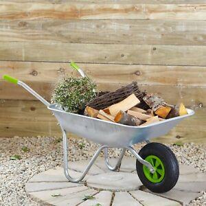 REFURBISHED - 65l Wheelbarrow Home Garden Cart Galvanised with Pneumatic Tyre