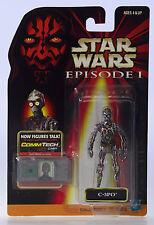 MOC STAR WARS C-3PO No Plating 1998 Episode 1 CommTech Chip Figure NIP MOSC